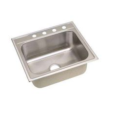 Signature Top Mount Stainless Steel 25 in. 4-Hole Single Bowl Kitchen Sink