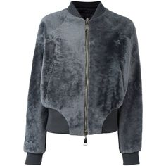 Drome textured bomber jacket ($1,733) ❤ liked on Polyvore featuring outerwear, jackets, grey, bomber style jacket, gray jacket, grey bomber jacket, fur jacket and grey fur jacket