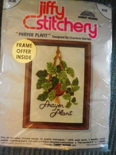 Jiffy Stitchery PRAYER PLANT Crewel Embroidery Kit #336 #SunsetDesigns Prayer Plant, Crewel Embroidery Kits, The Old Days, Plant Design, Prints, Fun, Funny