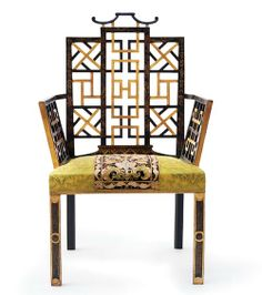 William and John Linnell chair, circa 1754, for the Chinese bedroom in Badminton House, a large country manor in Gloucestershire, England.