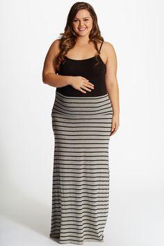 67eeae11b0629 Grey Black Striped Plus Size Maternity Maxi Skirt Stylish Maternity