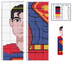 Superman - marque page Disney Cross Stitch Patterns, Cross Stitch For Kids, Just Cross Stitch, Beaded Cross Stitch, Cross Stitch Charts, Cross Stitch Designs, Cross Stitch Embroidery, Cross Stitch Bookmarks, Cross Stitch Books