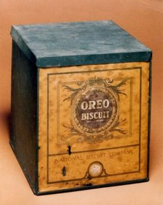 "Here's the original Oreo packaging from 1912, when they still used ""biscuit,"" the British word for cookie. Photo: Nabisco / SL"