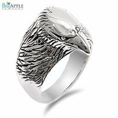 Motor Biker Eagle Head Band Men's Ring Solid 925 Sterling Silver Plain Simple 19mm Men's Ring Size 4-16