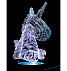 3D Optical Illusion Night Light - Unicorn Toddler Night Light, 3d Optical Illusions, Ceiling Shades, Color Change, Unicorn, Colours, Lighting, Bedroom, Art