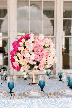 26 Pink Wedding Ideas That Are Trending Right Now - These pink wedding ideas prove that this color only gets better with time — and that we shouldn't expect to see it going away anytime soon. roses, colorful, ombre, white, flowers {Rakoteet Photography} Greenery Centerpiece, Floral Centerpieces, Wedding Centerpieces, Wedding Decorations, Centrepieces, Floral Arrangements, Maroon Wedding, Pink Wedding Theme, Wedding Themes
