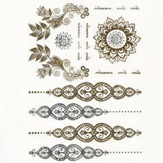 Chic Ethnic Decorations Pattern Gilding Tattoo Sticker For Women