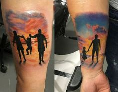 This Cute Family Tattoo. This inner arm tattoo piece is something worth sharing. Daddy Daughter Tattoos, Father Daughter Tattoos, Tattoos For Daughters, Hand Tattoos, Life Tattoos, Body Art Tattoos, Sleeve Tattoos, Silhouette Tattoos, Family Tattoo Designs