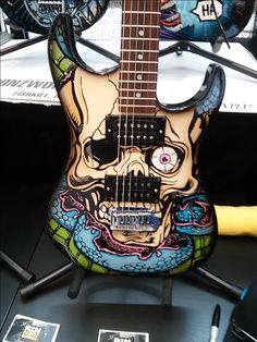 """Another badass looking guitar from """"RON PAINTS GUITARS"""" booth at 2016 Summer NAMM Convention in Nashville, TN."""
