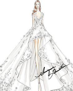 Exclusive First Look: Moda Operandi + Tiffany & Co. Fashion Design Sketchbook, Fashion Design Drawings, Fashion Sketches, Fashion Drawing Dresses, Fashion Illustration Dresses, Fashion Dresses, Gown Drawing, Dress Design Drawing, Wedding Dress Drawings