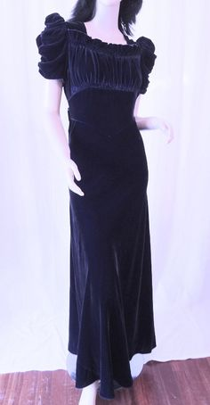 Vintage 1940s Fancy Black Rayon & Matte Satin Daytime Cocktail Party Frock Dress