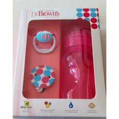 Dr Brown´s special edition rosa , contém um biberão boca larga de 240 ml com sistema de ventilação e válvula interna de duas peças, tetina de silicone 0-6 meses, escova de limpeza, chupeta Prevent 0-6 meses e uma corrente para chupeta.