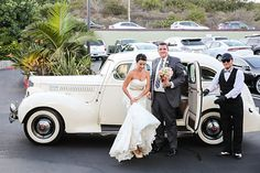 Arriving in a 1939 American Rolls Royce Packard to the reception at Cannons, Dana Point, California