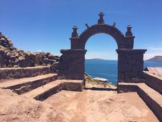Views through the archway from the top of Island Taquile on Lake Titicaca, Peru