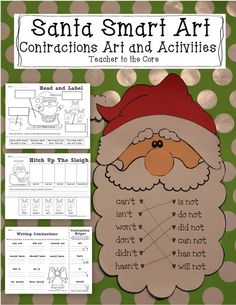 Teacher to the Core: 12 days of Giveaways- Day 6: Santa Smart Art! This decorates your classroom with rigorous learning! Super cute, fun, and smart!