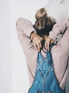 Throw a sweater under your denim overalls this winter // Shop sweaters & tops on http://Effinshop.com xx