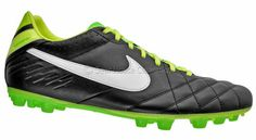 New NIKE Tiempo Mystic IV AG Mens Leather Soccer Cleats - Black / Green   Available at http://www.gearhouseclearance.com