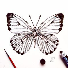 """Day 16 of my challenge #100daybutterflies #100daychallenge Inspired by """"Belanois Calypso Butterfly"""" it can be found in Senegal, Gambia, Guinea-Bissau, Sierra Leona, Liberia, Ivory Coast, Burkina Faso, Ghana, Togo, Benin etc.  #arts_help #art_we_inspire #imaginationarts #artdaily #craftsposure #challenge #art #painting #illustration #butterfly #handdrawnart #valleyofbutterflies #nature #phooftheday #doodle #love #bw #rtistic_feature #featuregalaxy #creative_instaarts  #me #worldbutterflies…"""
