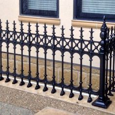 Stewart Cast Iron Fencing - Limited Stock on Full Height Railing and Half Height Railing. Victorian Fencing And Gates, Metal Fence Gates, Wrought Iron Fences, Brick Fence, Wrought Iron Doors, Cast Iron Railings, Cast Iron Gates, Cast Iron Fence, Wall Railing