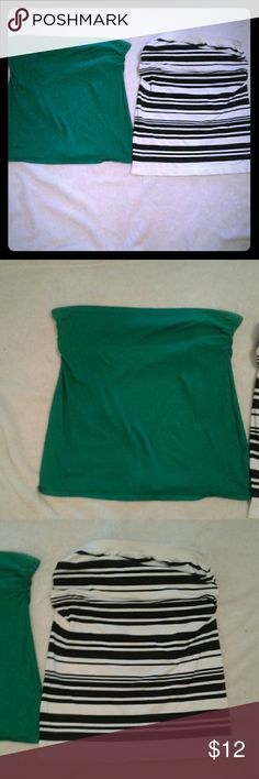 "Pair of tube tops 1 green, 18"" long, bra lined tube, 1 striped black and white, 21"" long , bra lined Tops"