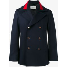 Gucci web collar peacoat ($1,755) ❤ liked on Polyvore featuring men's fashion, men's clothing, men's outerwear, men's coats, blue, mens blue trench coat, mens blue pea coat and mens fur collar coat