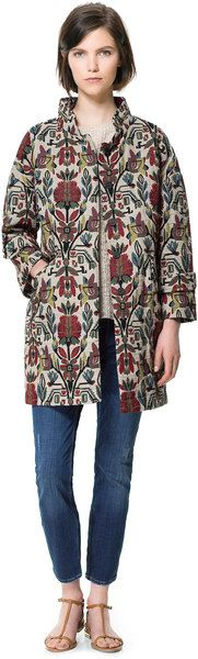 Zara Multi colored Jacquard Pattern Coat