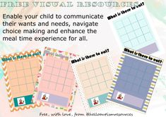 Various designs - Communication pages to use with your child to help them understand what's on offer, increase choice making abilities, tell you what they would like. Food Therapy, Therapy Ideas, Children With Autism, Children In Need, Sensory Issues, Forms Of Communication, Visual Schedules, Autism Resources, Visual Aids