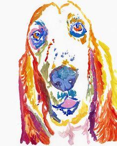 Basset hound print, Basset hound gift, dog gift idea, Dog portrait,Basset owner, basset parent,……