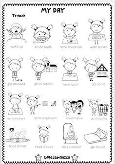 4 th grade ESL worksheets - Bilgeceingilizce Daily Routine Worksheet, Daily Routine Activities, 1st Grade Activities, Preschool Learning Activities, Kids Learning, Daily Routines, Classroom Projects, Classroom Rules, Classroom Language