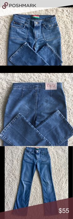"""Dolce & Gabbana Vintage Jeans Size 26 Inseam 33"""" D & G Made in Italy Vintage, rare and valuable jeans! Size 26, Inseam 33"""", Rise 8"""", Waist 13""""across, Leg opening 8.50"""" across. Very expensive vintage jeans, purchased at Saks long ago. Worn about three times. You can find jeans made this well anymore. So cool 😎. No holes, no stains, no odors. Please view all photos and see my other jeans too. Thanks for looking Dolce & Gabbana Jeans Flare & Wide Leg"""