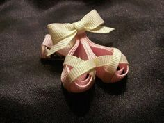 Ballet Slippers Ribbon Sculpture Clippies  www.facebook.com/madisonkamrynbowtique.com  www.madisonkamrynbowtique.com