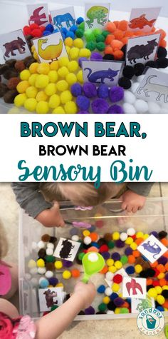 From bug discovery to button excavating sensory bins, these ideas are sure to keep your child's attention. Here are the 11 Best Sensory Bin Ideas. Toddler Sensory Bins, Sensory Tubs, Sensory Activities Toddlers, Sensory Boxes, Baby Sensory, Kindergarten Activities, Sensory Play, Preschool Activities, Brown Bear Activities
