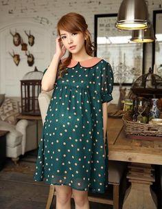 Ropa de maternidad del lunar verde de gasa Casual Dress Vestido para las mujeres embarazadas más el tamaño de vestidos de ropa de la novedad Verano-inDresses de Ropa y accesorios en Aliexpress.com | Grupo Alibaba