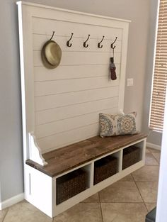 bench with storage Shiplap Hall Tree Bench Plans — the Awesome Orange Cubby Bench, Bench Mudroom, Entryway Bench Storage, Hall Bench With Storage, Mud Room Bench Plans, Entry Bench, Entryway Hall Tree Bench, Door Hall Trees, Garage Bench