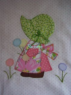 Sunbonnet | Flickr - Photo Sharing! Sooooo cute Baby Quilt Patterns, Applique Patterns, Applique Quilts, Sewing Appliques, Quilting Tutorials, Quilting Projects, Quilting Designs, Sewing Projects, Baby Patchwork Quilt