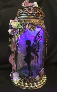 Excited to share this item from my #etsy shop: Handmade silhouette 8 inch beautiful fairy jar .
