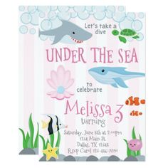 Under the Sea Animal Birthday Party Invitation - invitations custom unique diy personalize occasions