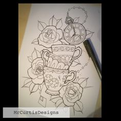 Roses and stacked teacups tattoo design by Matt Curtis.