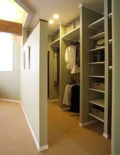 I love the way this closet is made like a hallway instead of having a door.