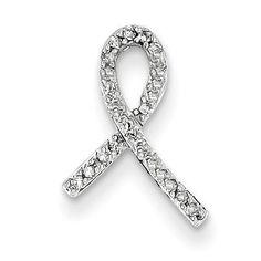 14k White Gold Breast Cancer Awareness Diamond Slide XP3084AA