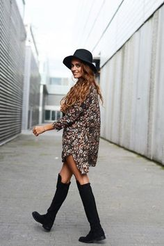 I love this outfit, so fresh! #style #outfit #hat #panama #autumn #knee #high #boots