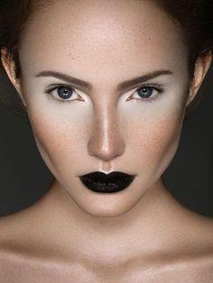 black swan theme dramatic model runway makeup look black lips Love Makeup, Makeup Art, Beauty Makeup, Makeup Looks, Makeup Ideas, Awesome Makeup, Stunning Makeup, Black Lipstick, Black Lips Makeup