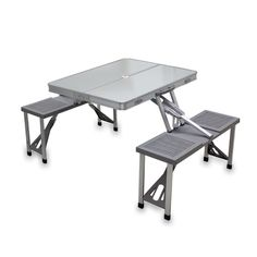 Picnic Time Aluminum Picnic Table Portable Table and Seats Portable Picnic Table, Folding Camping Table, Table Camping, Picnic Tables, Family Camping, Folding Tables, Beach Camping, Table With Bench Seat, Table Seating
