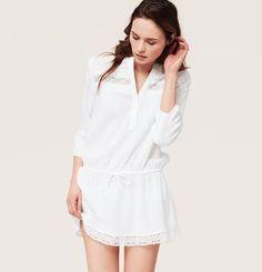 LOFT Beach Lace Trim Shirtdress Swimsuit Cover Up on shopstyle.com