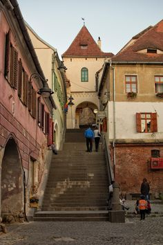 Stairs up into the Inner Old Town, Sibiu Romania
