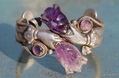 Vintage Mexican 980 Fine Sterling Silver & Amethyst William Spratling Style Friendship Bracelet