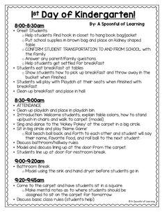 A Spoonful of Learning: First Day of Kindergarten - Grundschule Kindergarten First Week, Kindergarten Schedule, Kindergarten Lesson Plans, Kindergarten Teachers, Kindergarten Activities, Kindergarten Procedures, Journeys Kindergarten, Preschool Ideas, First Day Of School Activities