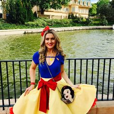 When Victoria emailed me these pictures last month I about fell over because of how gorgeous they are! I am so excited to finally be sharing them with you! She's wearing our Snow White inspired yellow circle skirt and red sash-- what a stunner!😍❤️💙 #disneybound #snowwhite #epcot #wdw #disneyprincess #thefairestofthemall #shopsmall #shophandmade #disneybounding #disneystyle #disneyfashion #damseldesigned