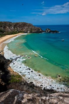 """Ele se despedaçará nas rochas Nos baichos sobre o mar"" Sancho's Bay Fernando… Beautiful Places In The World, What A Wonderful World, Places Around The World, Travel Around The World, Around The Worlds, Brazil Travel, Argentine, Holiday Places, Vacation Spots"