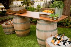 Wooden crates are great to use in a rustic buffet or bar set up.